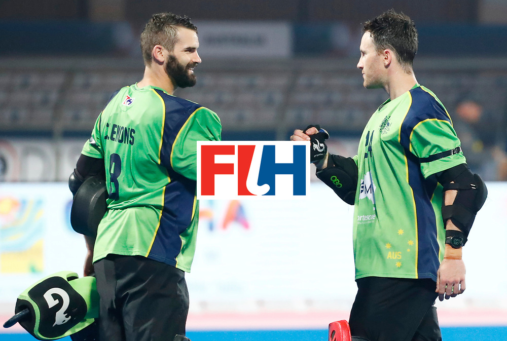 BHUBANESWAR -  Line up Spain. Hockey World League finals , Quarter Finals . Australia v Spanje .  left keeper Tristan Clemons (Aus) en keeper Tyler Lovell (Aus).  COPYRIGHT KOEN SUYK