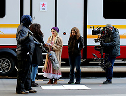 "Drew Barrymore wears a long blonde braided pigtail wig as she plays a milkmaid on the set of ""The Stand-In"" filming in Midtown Manhattan. 19 Feb 2019 Pictured: Drew Barrymore. Photo credit: LRNYC / MEGA TheMegaAgency.com +1 888 505 6342"