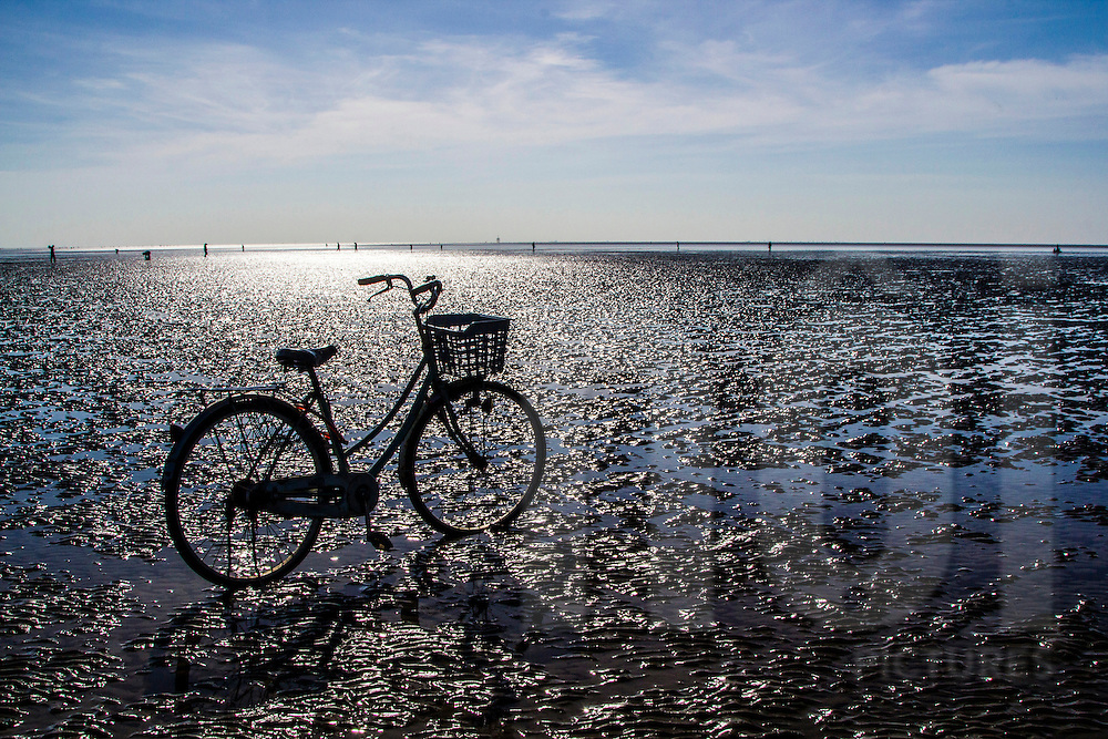 Lone bicycle parked on the beach while people in the distance harvest shellfish during low tide, Can Gio District, Ho Chi Minh City suburb, Vietnam, Southeast Asia.