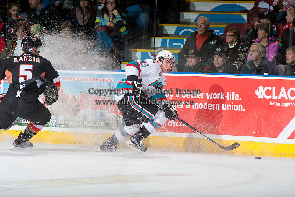 KELOWNA, CANADA - FEBRUARY 6: Dillon Dube #19 of Kelowna Rockets skates with the puck against the Calgary Hitmen on February 6, 2016 at Prospera Place in Kelowna, British Columbia, Canada.  (Photo by Marissa Baecker/Shoot the Breeze)  *** Local Caption *** Dillon Dube;