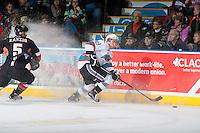KELOWNA, CANADA - FEBRUARY 6: Dillon Dube #19 of Kelowna Rockets skates with the puck against the Calgary Hitmen on February 6, 2016 at Prospera Place in Kelowna, British Columbia, Canada.  (Photo by Marissa Baecker/Shoot the Breeze)  *** Local Caption *** Dillon Dube;