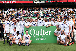 Josh Beaumont of the England XV lifts the Quilter Cup in celebration - Mandatory byline: Patrick Khachfe/JMP - 07966 386802 - 02/06/2019 - RUGBY UNION - Twickenham Stadium - London, England - England XV v Barbarians - Quilter Cup International