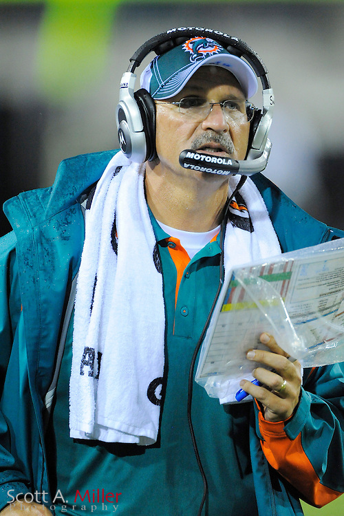 Aug. 21, 2010; Jacksonville, FL, USA; Miami Dolphins head coach Tony Sparano during his team's game against the Jacksonville Jaguars at EverBank Field. ..©2010 Scott A. Miller