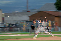 KELOWNA, BC - JULY 17:  Ryan Long #17 of the Wenatchee Applesox throws a pitch against the Kelowna Falcons at Elks Stadium on July 17, 2019 in Kelowna, Canada. (Photo by Marissa Baecker/Shoot the Breeze)