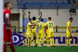 Players of NK Domzale celebrate during football match between NK Domzale and ND Gorica in 14th Round of Prva liga Telekom Slovenije 2018/19, on November 7, 2018 in Sportni Park, Domzale, Slovenia. Photo by Matic Klansek Velej / Sportida