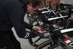 Team Sunweb mechanic applies a special tape on the handlebars that offers more grip during Stage 2 of the Healthy Ageing Tour - a 19.6 km team time trial, starting and finishing in Baflo on April 6, 2017, in Groeningen, Netherlands.