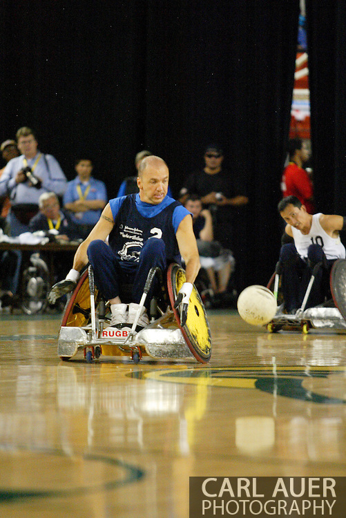 July 7th, 2006: Anchorage, AK - David Hosick (2) speeds after a loose ball as White defeated Blue in the gold medal game of Quad Rugby at the 26th National Veterans Wheelchair Games.