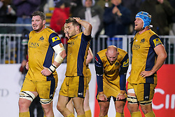 James Phillips, Will Cliff and Jordan Crane (capt) of Bristol Rugby look dejected after Bath Rugby hold on to win 16-9 - Rogan Thomson/JMP - 18/11/2016 - RUGBY UNION - Recreation Ground - Bath, England - Bath Rugby v Bristol Rugby - Aviva Premiership.