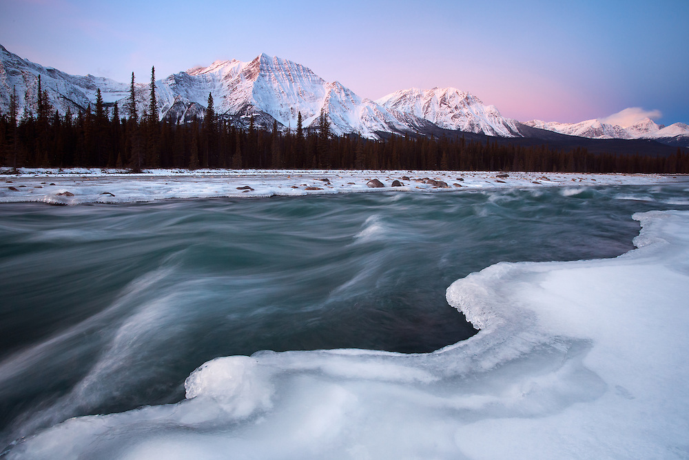 Sunrise at Athabasca River and Mount Fryatt in Jasper National Park, Alberta