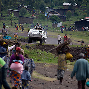 MONUC, the UN peacekeeping force in Democratic Republic of Congo patrol outside of Goma. Fighting escalated in recent weeks between the rebel group CNDP, the National Congress for the Defense of the People, and the Congolese army, displacing tens of thousands of people.