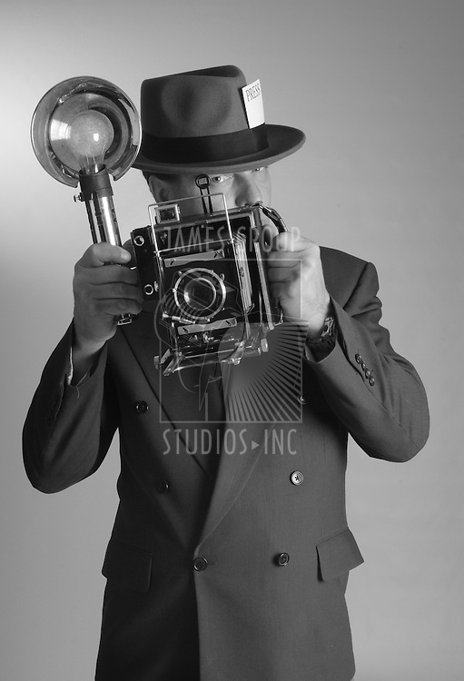 1940's style photojournalist in portrait aspect ratio