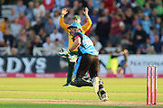 Ben Cox of Worcestershire Rapids hits out and runs during the Vitality T20 Blast North Group match between Nottinghamshire County Cricket Club and Worcestershire County Cricket Club at Trent Bridge, West Bridgford, United Kingdon on 18 July 2019.