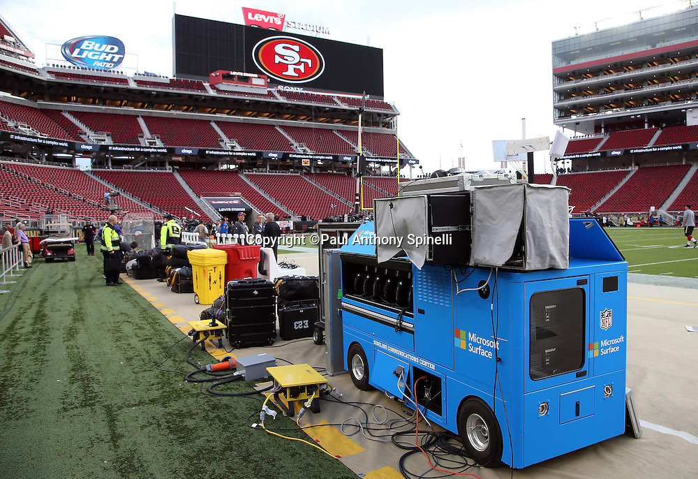 A sideline communications center cart stands ready for the San Francisco 49ers 2015 NFL week 1 regular season football game against the Minnesota Vikings in this wide angle, field level, general view photograph taken on Monday, Sept. 14, 2015 in Santa Clara, Calif. The 49ers won the game 20-3. (©Paul Anthony Spinelli)