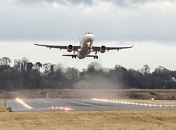 High Winds at Edinburgh Airport, Tuesday 7th January 2020<br /> <br /> Planes struggled on landing and take-off as high winds hit Edinburgh Airport today<br /> <br /> Pictured: A Easyjet flight takes off<br /> <br /> Alex Todd | Edinburgh Elite media