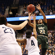 Shaleth Stringfield, USF, shoots during the UConn Huskies Vs USF Bulls Basketball Final game at the American Athletic Conference Women's College Basketball Championships 2015 at Mohegan Sun Arena, Uncasville, Connecticut, USA. 9th March 2015. Photo Tim Clayton