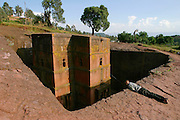 LALIBELA, WELO/ETHIOPIA..The famous rock-hewn churches, result of a delirious phantasy of King Lalibela, who had fallen into a coma due to a failed poisoning attack..Bet Gyorgis (St. George's Church), most famous for its Timkat (Epiphany) festival..(Photo by Heimo Aga)