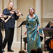 November 15, 2011 - Manhattan, NY : The Theatre of Early Music including, from left, violinist Cynthia Roberts, violinist Edwin Huizinga, soprano Deborah York, and cellist Amanda Keesmaat, perform works by George Frideric Handel in the Joan and Sanford I. Weill Recital Hall at Carnegie Hall on Tuesday night. CREDIT: Karsten Moran for The New York Times