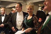 LT. COL CHRISTOPHER PALMER, LADY DALMANY;  The Royal Caledonian Ball 2015. Grosvenor House. Park Lane, London. 1 May 2015.