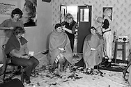 Free hairdressing for miners and their families at Worsbrough Bridge Miners Welfare provided by Kaufmann Salons Baarnsley. 10/10/1984.