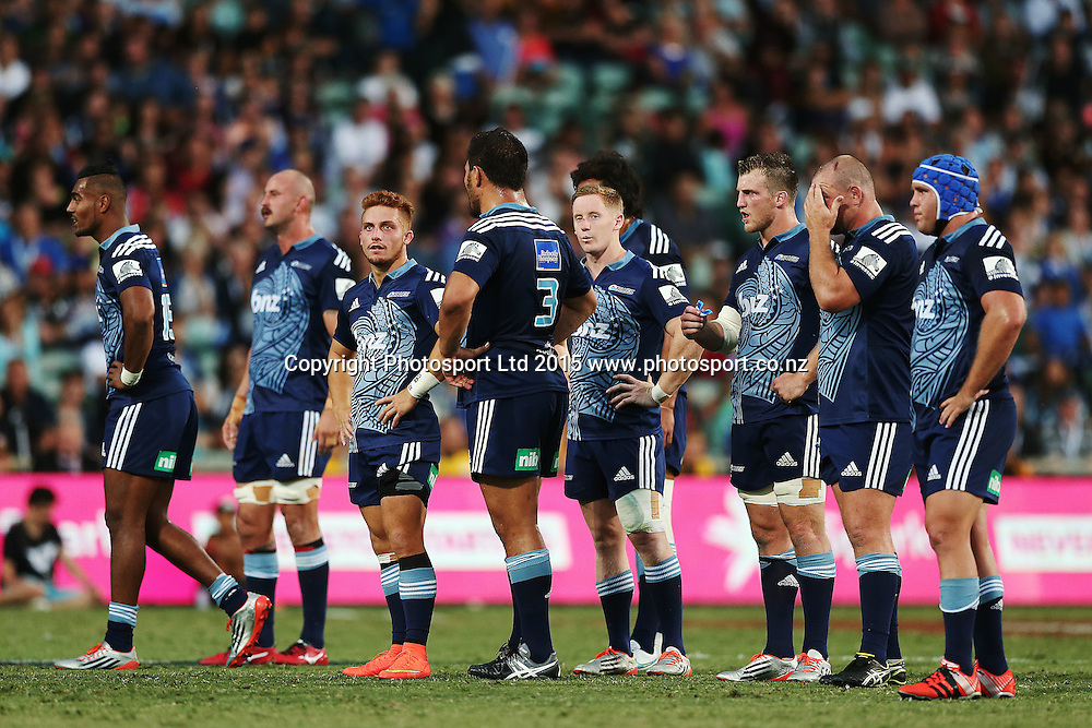 The Blues players look on. Super Rugby match, Blues v Chiefs at QBE Stadium, Auckland, New Zealand. Saturday 14 February 2015. Photo: Anthony Au-Yeung / www.photosport.co.nz