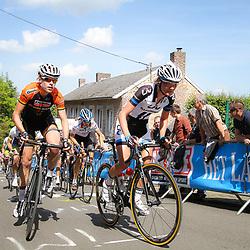CYCLING, Huy (Belgium): The fourth race in de UCI womens worldcup Fleche Walonne. Ellen vna Dijk, CLaudia Haussler
