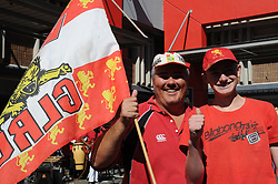 28-07-18 Emirates Airline Park, Johannesburg. Super Rugby semi-final Emirates Lions vs NSW Waratahs. Lions fans, father and son from Thabazimbi, Renier and Johann Coetzee. <br /> Picture: Karen Sandison/African News Agency (ANA)