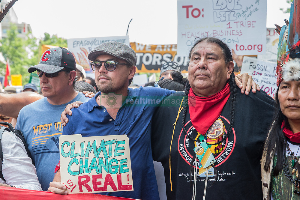 Washington, DC. Leonardo DiCaprio marches with the Indigenous leaders and the native people as they fight for climate justice during the People's Climate March in Washington D.C. on April. 29, 2017 (Photo by Chaz Niell )  *** Please Use Credit from Credit Field ***
