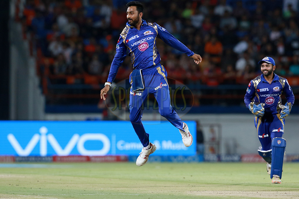 Krunal Pandya of MI celebrates after takes a catch of Ravindra Jadeja of GLduring match 35 of the Vivo 2017 Indian Premier League between the Gujarat Lions and the Mumbai Indians  held at the Saurashtra Cricket Association Stadium in Rajkot, India on the 29th April 2017<br /> <br /> Photo by Rahul Gulati - Sportzpics - IPL
