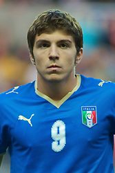 SWANSEA, ENGLAND - Friday, September 4, 2009: Italy's Lorenzo Ariaudo lines-up before the UEFA Under 21 Championship Qualifying Group 3 match against Wales at the Liberty Stadium. (Photo by Gareth Davies/Propaganda)