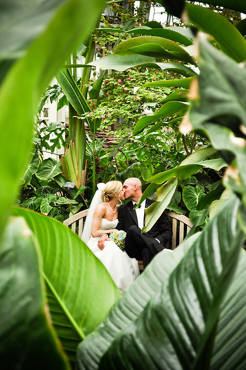Jane and Jim through the leaves, Garfield Park conservatory, Chicago, IL