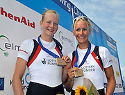 Varese,  ITALY. 2012 FISA European Championships, Lake Varese Regatta Course. ..Right: GBR LW2X  Bow.Ruth WALCZAK and Imogen WALSH Bronze Medalist Women's Lightweight Double Sculls..12:32:06  Sunday  16/09/2012 .....[Mandatory Credit Peter Spurrier:  Intersport Images]  ..2012 European Rowing Championships Rowing, European,  2012 010876.jpg.....