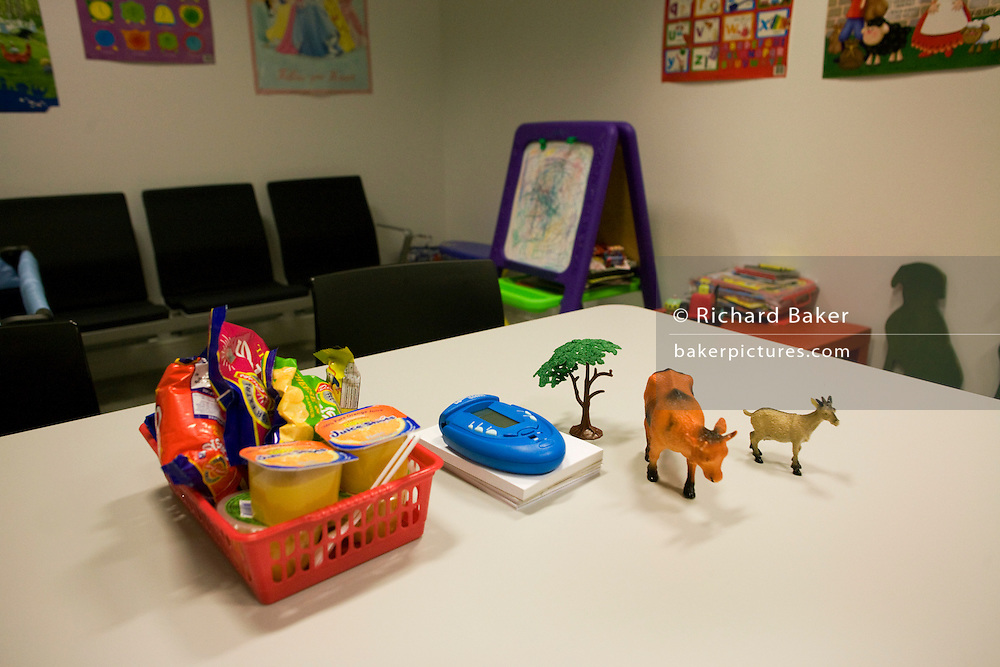 Childrens' toys in a UK Border Agency's immigration detention room for minors run by Group 4 at Heathrow Airport's T5 .