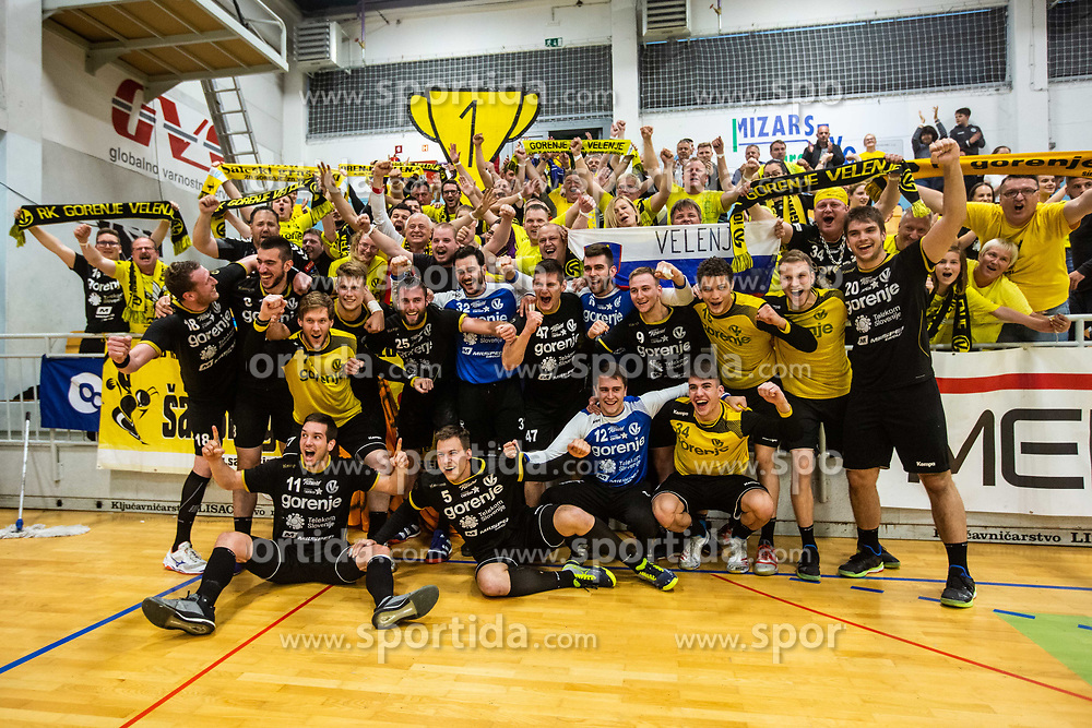RK Gorenje Velenje with fans after winning Slovenian cup 2019,  handball match between RK Gorenje Velenje and MRK Krka in Final of Slovenian Men Handball Cup 2018/19, on Maj 12, 2019 in Novo Mesto, Slovenia. Photo by Grega Valancic / Sportida