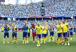 June 18, 2018 - Nizhniy Novgorod, Russia - Group F Sweden v Korea Republic - FIFA World Cup Russia 2018..Sweden celebrate the victory at Nizhny Novgorod Stadium, Russia on June 18, 2018. (Credit Image: © Matteo Ciambelli/NurPhoto via ZUMA Press)
