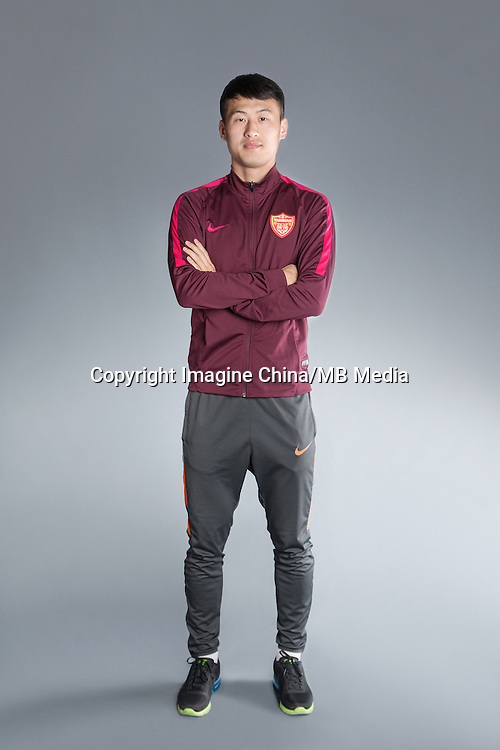 Portrait of Chinese soccer player Tian Yinong of Yanbian Funde F.C. for the 2017 Chinese Football Association Super League, in Namhae County, South Gyeongsang Province, South Korea, 11 February 2017.