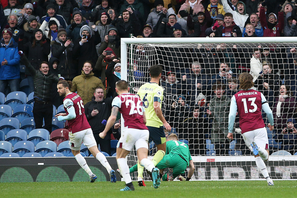 Burnley forward Jay Rodriguez (19) scores from the penalty 2-0 and wheels away to celebrate during the Premier League match between Burnley and Bournemouth at Turf Moor, Burnley, England on 22 February 2020.