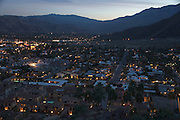 overview of Palm Springs at sunset