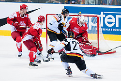 Kevin Lavallee of Germany shot on goal during ice-hockey match between Denmark and Germany of Group E in Qualifying Round of IIHF 2011 World Championship Slovakia, on May 7, 2011 in Orange Arena, Bratislava, Slovakia. (Photo by Matic Klansek Velej / Sportida)
