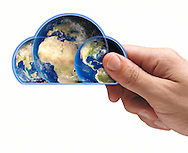 Male hand holding world continents shaped like cloud.