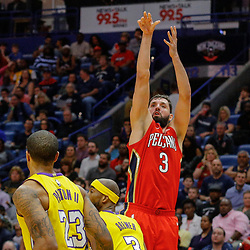 Feb 14, 2018; New Orleans, LA, USA; New Orleans Pelicans forward Nikola Mirotic (3) shoots over Los Angeles Lakers forward Corey Brewer (3) during the second half at the Smoothie King Center. The Pelicans defeated the Lakers 139-117. Mandatory Credit: Derick E. Hingle-USA TODAY Sports