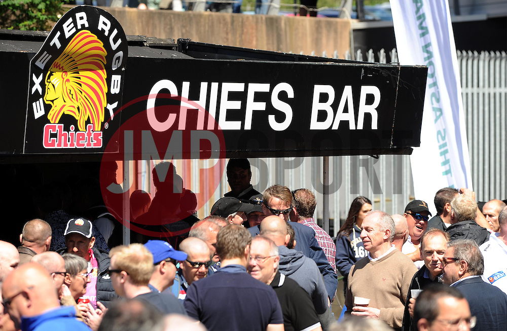 Fans start to enter Sandy Park prior to kick off. Photo mandatory by-line: Harry Trump/JMP - Mobile: 07966 386802 - 16/05/15 - SPORT - RUGBY - Aviva Premiership - Exeter Chiefs v Sale Sharks - Sandy Park, Exeter, England.