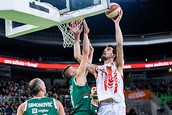Ognjen Kuzmić of KK Crvena Zvezda MTS and Edo Muric of KK Cedevita Olimpija during ABA basketball league round 9 match between teams KK Cedevita Olimpija and KK Crvena Zvezda MTS in Arena Stozice, 1. December, 2019, Ljubljana, Slovenia. Photo by Grega Valancic / Sportida