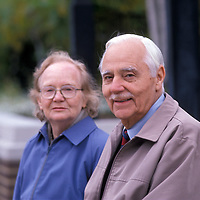 Harold and D. McAuley of Hastings, UK sit on an Alexandria, VA bench in 1988. Release svsilsblr.