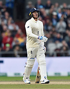 Wicket - Jason Roy of England looks dejected as he walks back to the pavilion after being dismissed by Josh Hazlewood of Australia during the International Test Match 2019, fourth test, day three match between England and Australia at Old Trafford, Manchester, England on 6 September 2019.