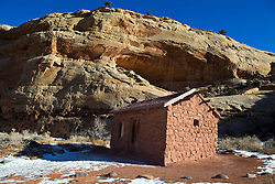Elijah Cutler Behunin Cabin, a single story home constructed of sandstone and plaster-cement wash, Capitol Reef National Park, Utah, United States of America