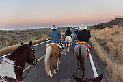 Hundreds of Mexican cowboys begin a day long ride at dawn during the annual Cabalgata de Cristo Rey pilgrimage January 5, 2017 in La Sauceda, Guanajuato, Mexico. Thousands of Mexican cowboys and horse take part in the three-day ride to the mountaintop shrine of Cristo Rey stopping along the way at shrines and churches.
