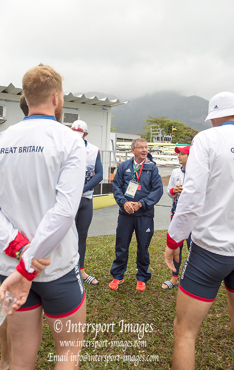 Rio de Janeiro. BRAZIL.   chief coach Jurgen GROBLER , before the training outing, and before the postponement of the days racing. the 2016 Olympic Rowing Regatta. Lagoa Stadium,<br /> Copacabana,  &ldquo;Olympic Summer Games&rdquo;<br /> Rodrigo de Freitas Lagoon, Lagoa.   Wednesday  10/08/2016 <br /> <br /> [Mandatory Credit; Peter SPURRIER/Intersport Images]