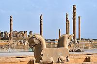 Iran, province du Fars, Persepolis, patrimoine mondial de l'UNESCO, oiseau rapace // Iran, Fars Province, Persepolis, World Heritage of the UNESCO, bird of prey