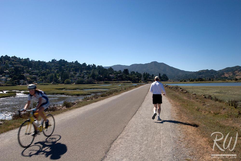 Hiker and Biker Along Lagoon, Mill Valley, California
