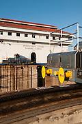 Locomotives and control building at Miraflores Locks. Panama Canal, Panama City, Panama, Central America.